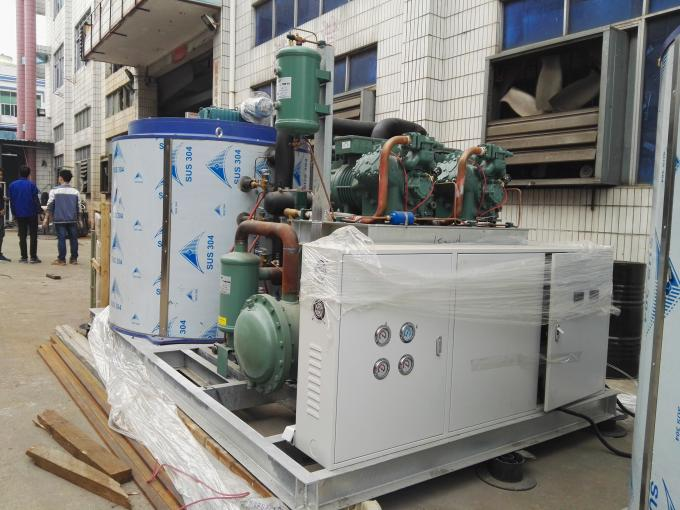 30T Water Cooling Industrial Flake Ice Maker Equipment , Industrial Ice Maker Bitzer Compressor