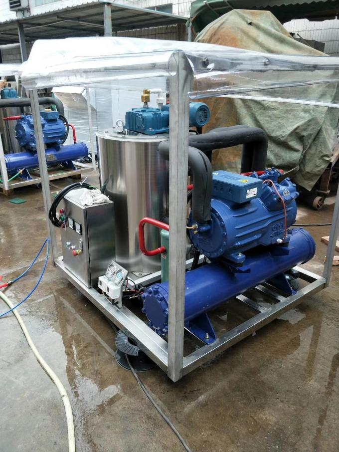 Fishing Boat Seawater Flake Ice Making Machine With Piston Compressor